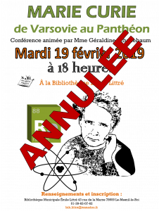 Annulation Marie Curie